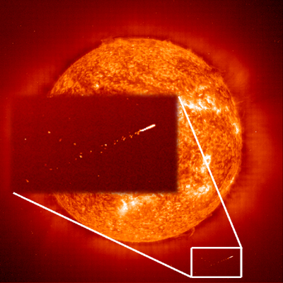 This huge object would be thousands of miles long!! (Courtesy∶ SOHOꟾ LASCO)